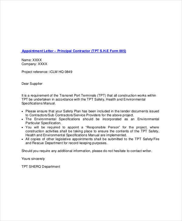 principal contractor appointment letter template1