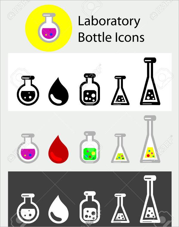 Laboratory Bottle Icons Set