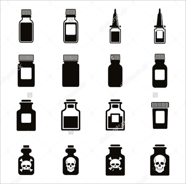 Medical Bottle Icons Set