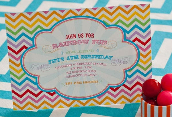 chevron birthday party invitation