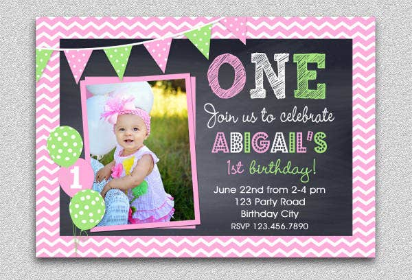pink chevron birthday invitation