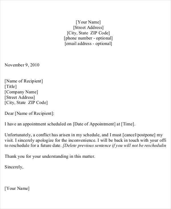 office appointment cancellation letter template