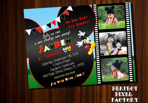 -Diy Mickey Mouse Birthday Invitation