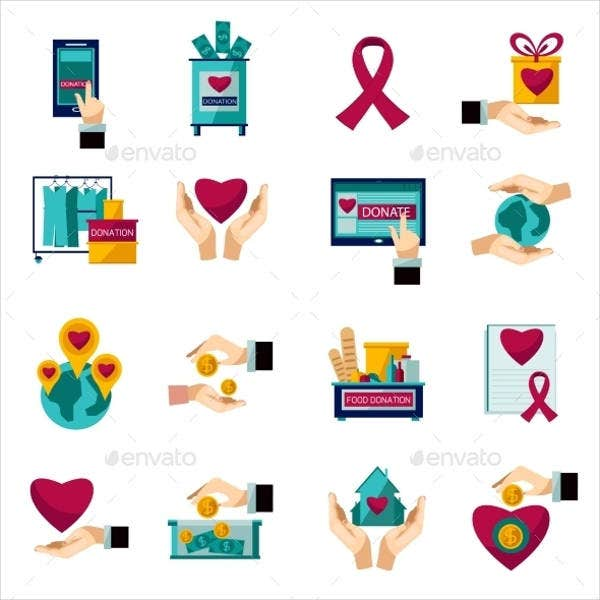 Charity & Donation Flat Icon Sets