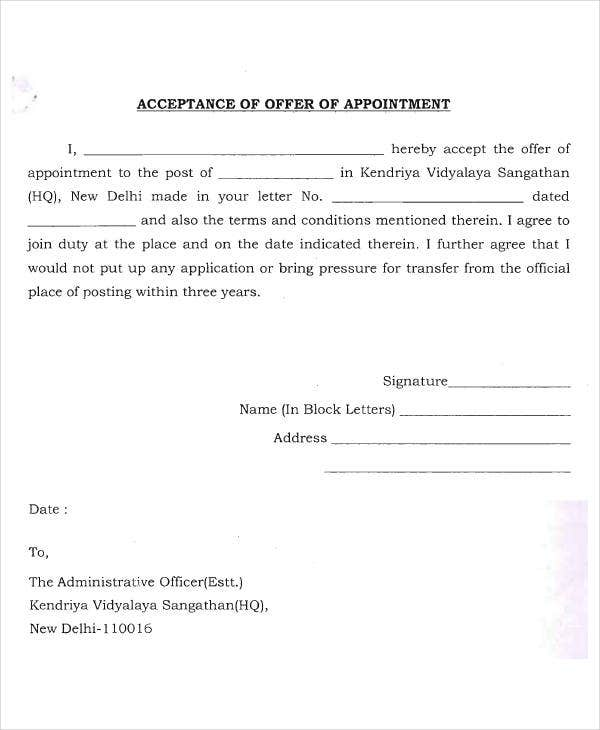 appointment offer acceptance letter template