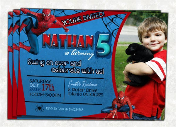 spiderman photo birthday invitation