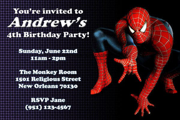 Spiderman Birthday Invitation Card