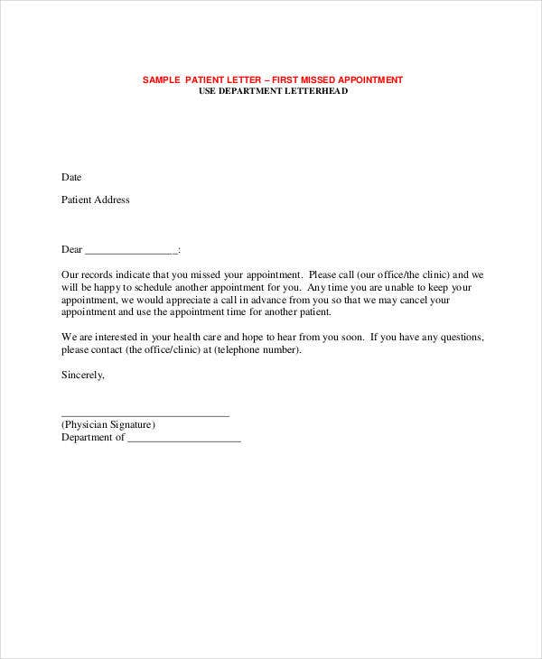 Appointment letter template 31 free word pdf documents download patient missed appointment sample spiritdancerdesigns