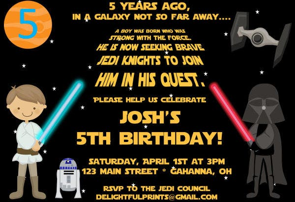 star wars 40th birthday invitation