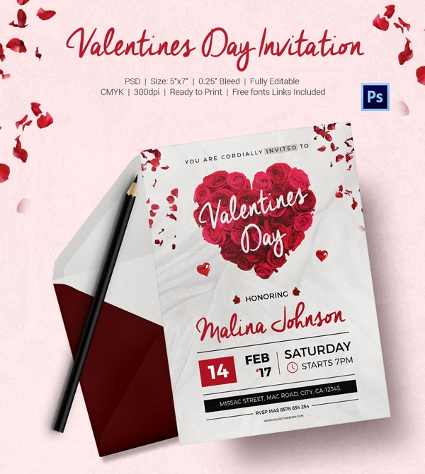 Free Valentines Day Templates Flyer Invitations Greeting - Valentine's day invitation template