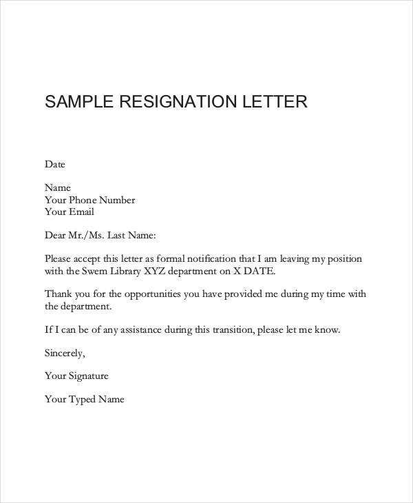 Letter format 39 free word pdf documents download free formal resignation letter format spiritdancerdesigns Image collections