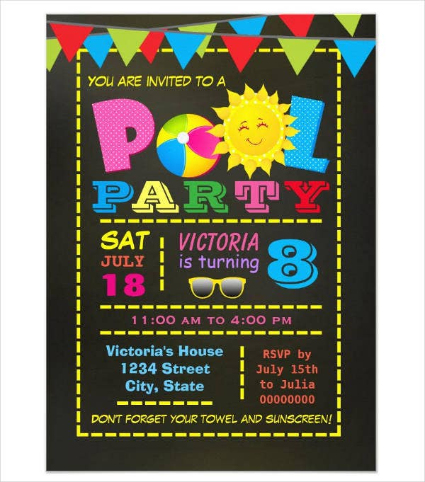 pool party invitation card design1