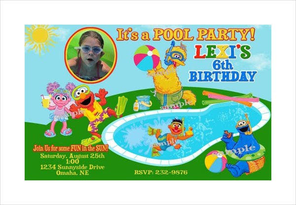 -Pool Party Invitation Card
