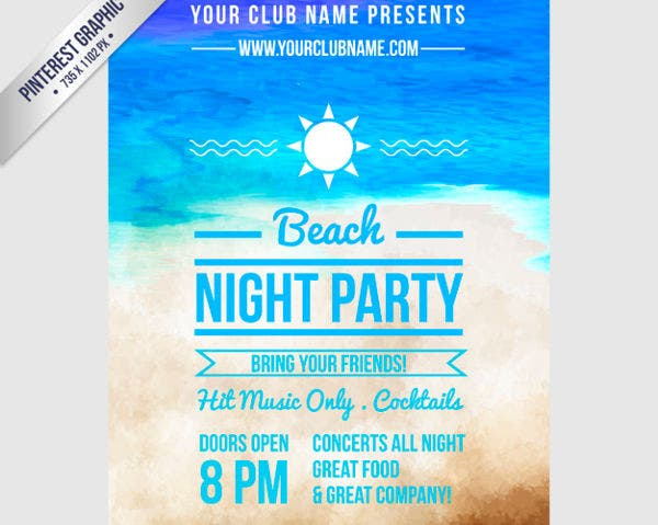 -Free Beach Party Invitation