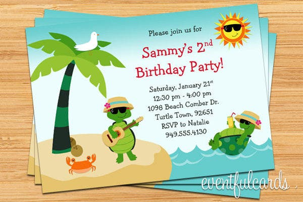 -Birthday Beach Party Invitation