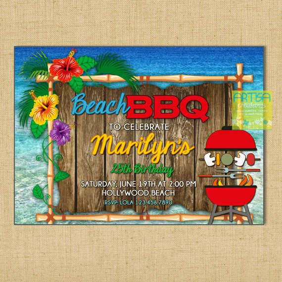 bbq beach party invitation