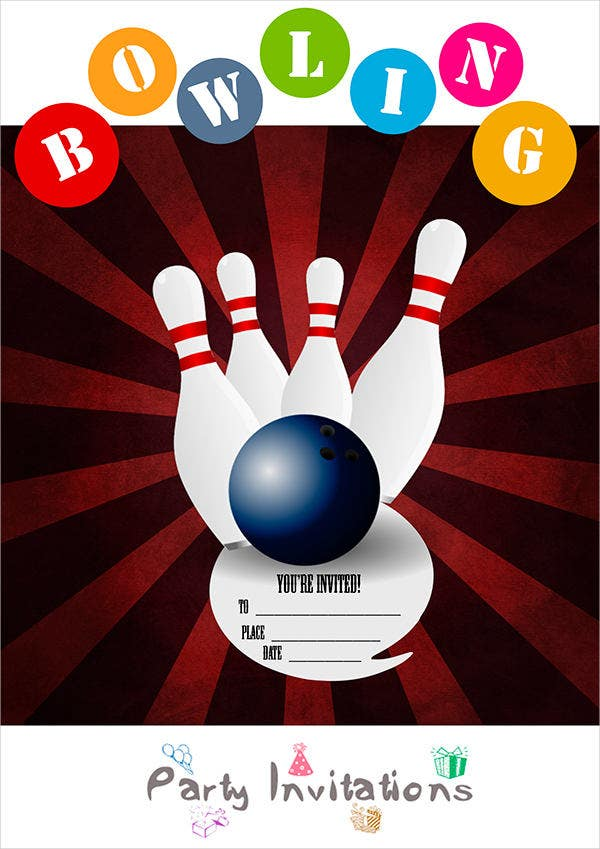 corporate bowling party invitation1