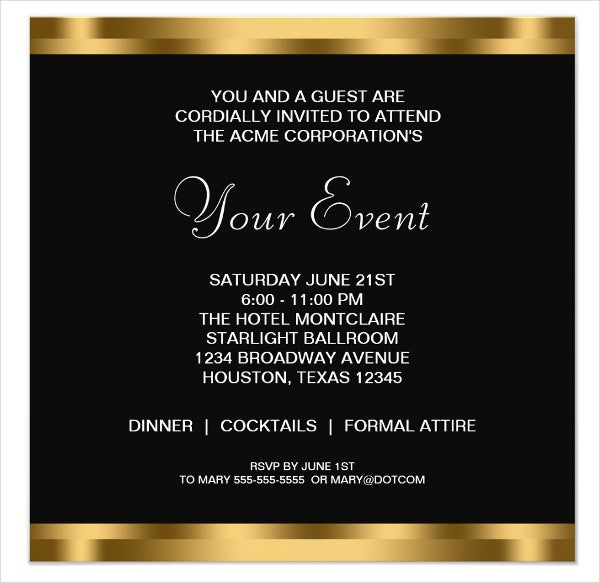 corporate party invitation card