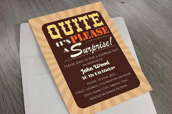 -Surprise Party Invitation Card