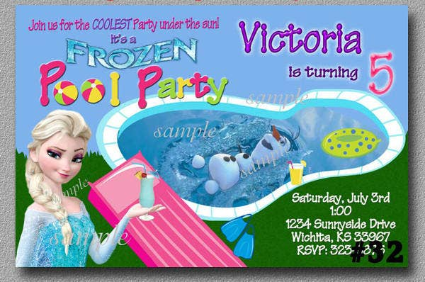 -Frozen Pool Party Invitation