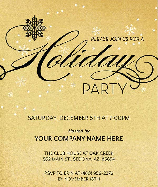 corporate holiday dinner invitation