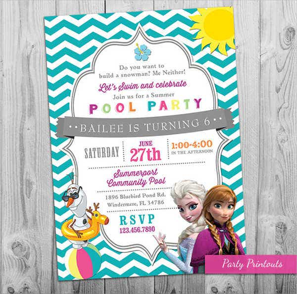 frozen pool printable party invitation