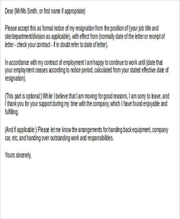 official employment resignation letter