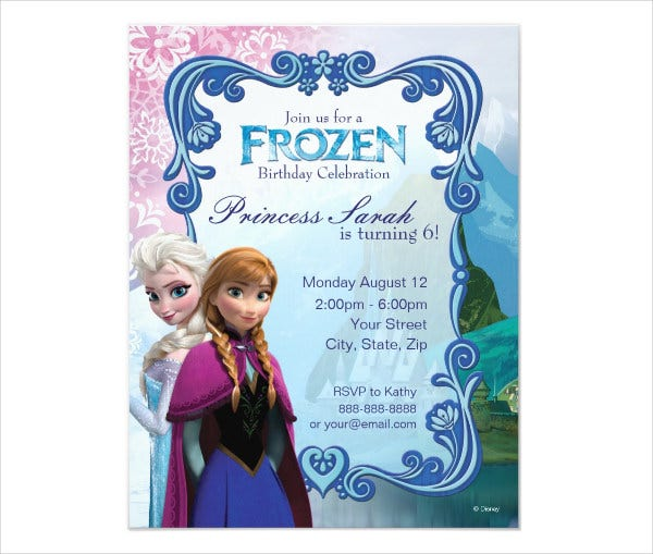 frozen printable birthday party invitation
