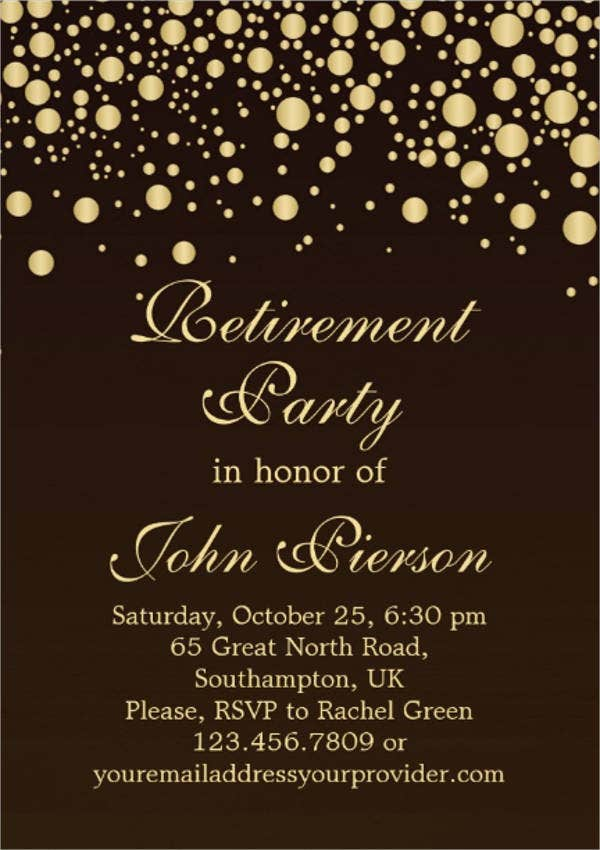 formal retirement dinner invitation
