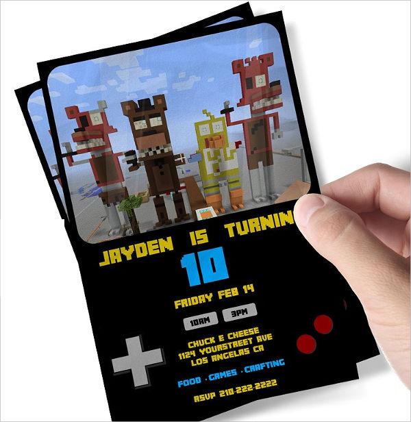 Minecraft Printable Birthday Party Invitation