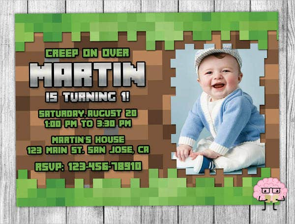 free minecraft printable party invitation