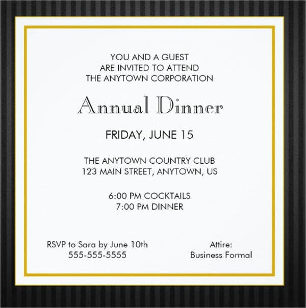 8 Formal Dinner Invitation Free Sample Example Format