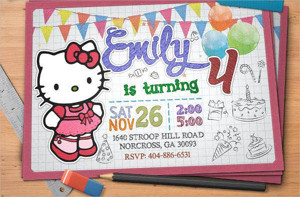 hello kitty printable birthday party invitation