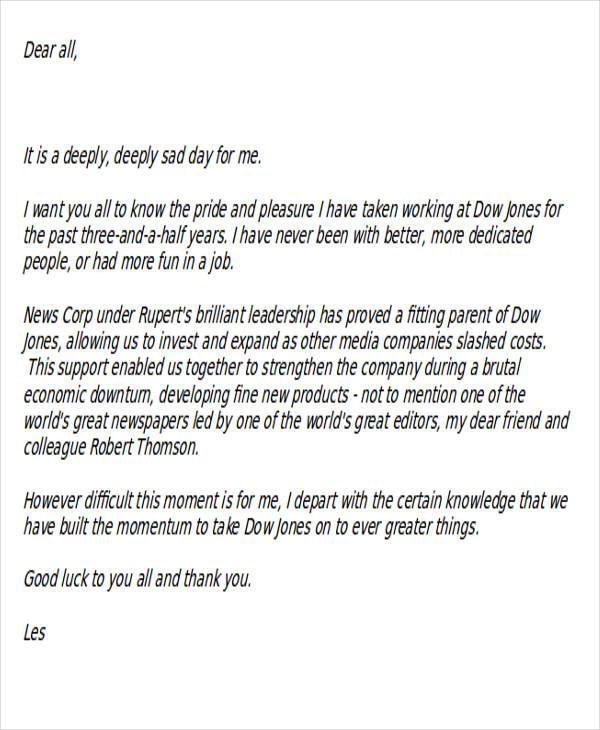 reporter resignation template