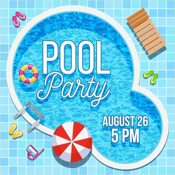 printable pool summer party invitation