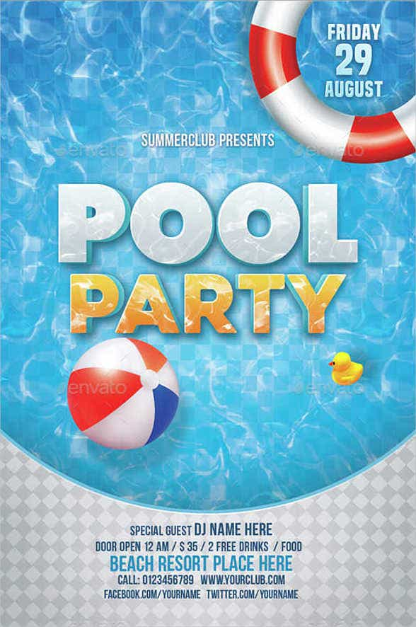 printable pool party invitation card1