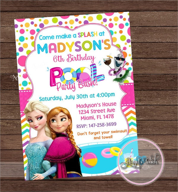 frozen printable pool party invitation
