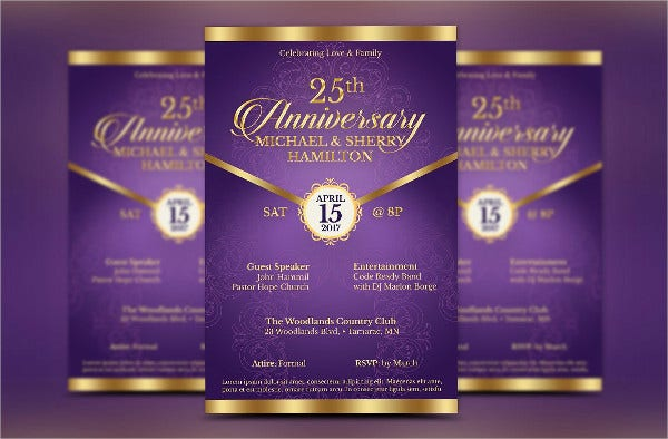 printable wedding anniversary party invitation