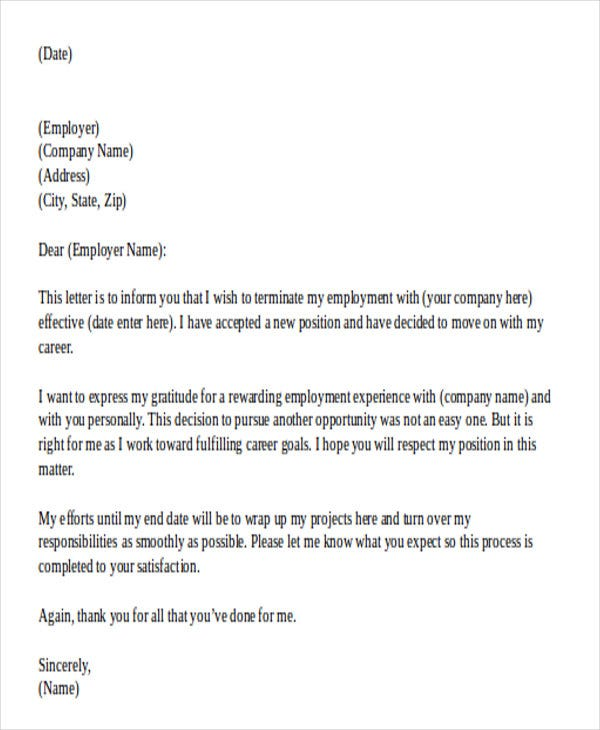 Letter Of Resignation Template Doc