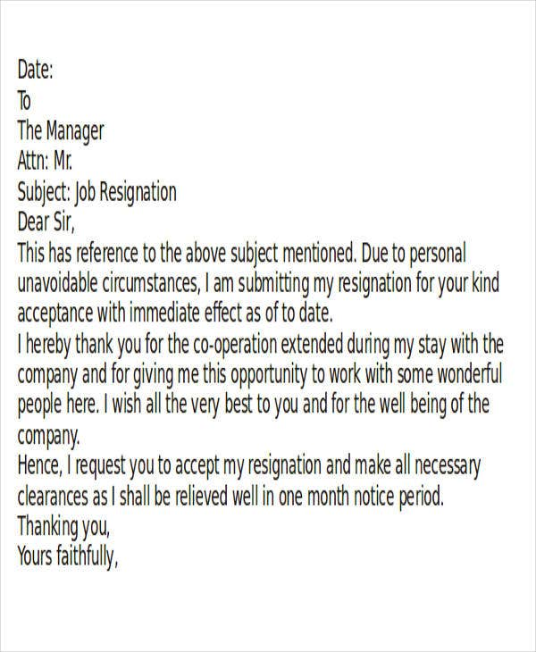 Resignation Letter Format With Notice Period In Doc