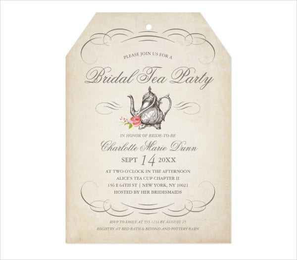 printable vintage tea party invitation