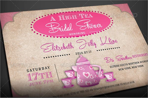 printable bridal tea party invitation