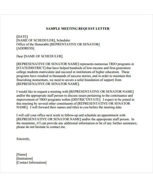 sample letter of request for meeting appointment