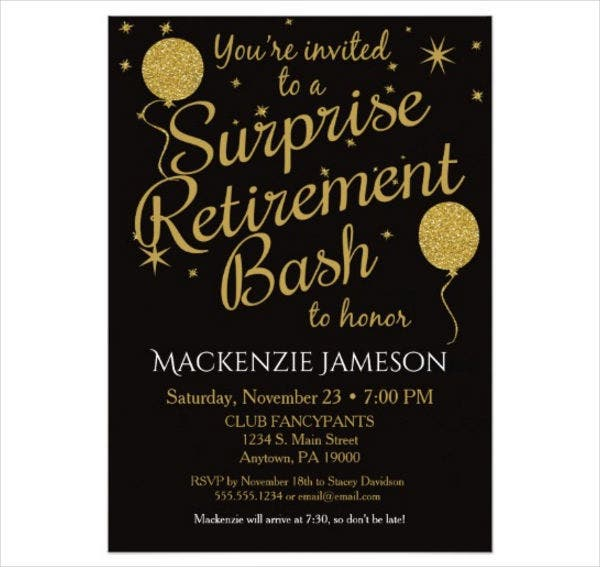 printable surprise retirement party invitation