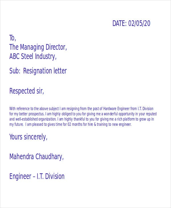42+ Resignation Letter Template in Doc | Free & Premium Templates