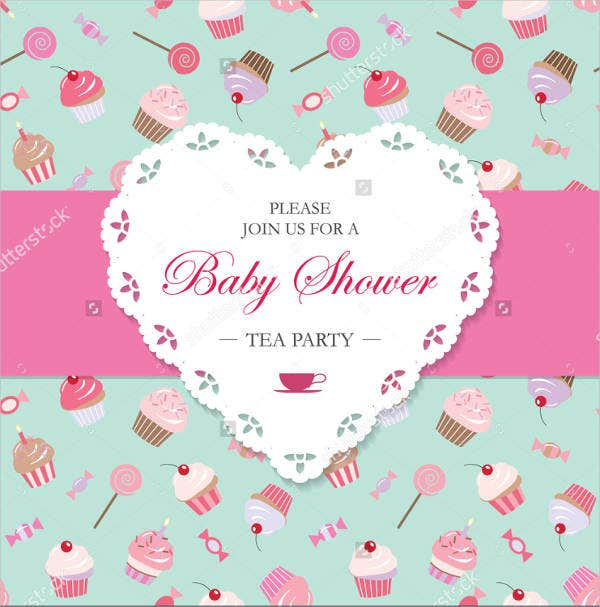 printable baby shower tea party invitation
