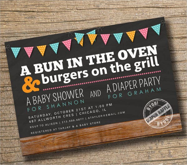 baby shower diaper party invitation