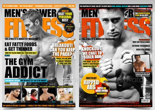 mens power fitness magazine cover template