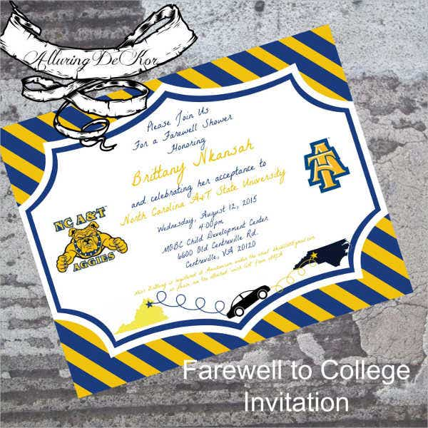 printable college farewell party invitation
