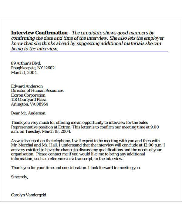 sample letter for confirmation of interview appointment